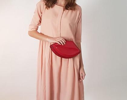 שמלת אובר סייז עם כפתורים בגב אפרסק