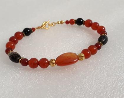 צמיד אבני חן - צמיד קארנליאן וטורמלין - צמיד בצבעי אדום ושחור