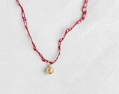 תליון פרי אקפילטוס זהב עם שרשרת סרוגה בכמה צבעים לבחירה