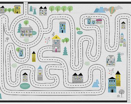 """שטיח PVC עבה במיוחד לילדים דגם- """"כביש שחור לבן"""""""