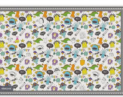 """שטיח PVC עבה במיוחד לילדים דגם- """"מפלצות צבעוניות חמודות"""""""