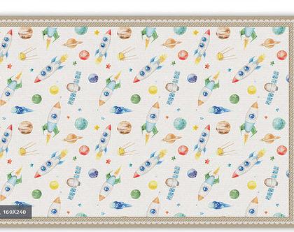"""שטיח PVC עבה במיוחד לילדים דגם- """"איורים בחלל מסגרת בז' """""""