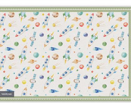 """שטיח PVC עבה במיוחד לילדים דגם- """"איורים בחלל מסגרת ירוקה' """""""