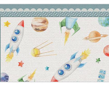 """שטיח PVC עבה במיוחד לילדים דגם- """"איורים בחלל מסגרת כחולה """""""
