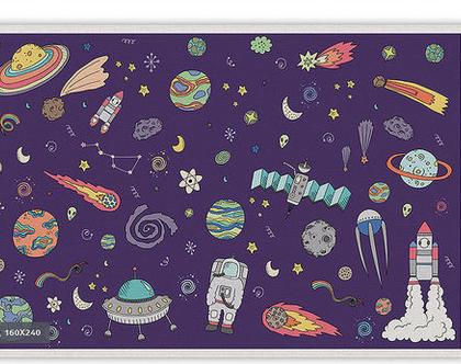 """שטיח PVC עבה במיוחד לילדים דגם- """"טקסטורה חלל - סגול """""""