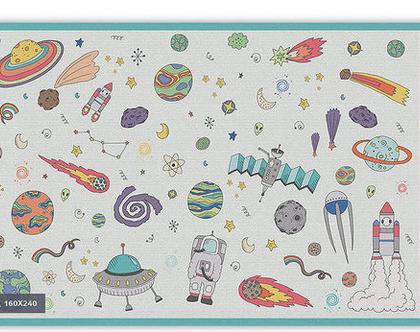 """שטיח PVC עבה במיוחד לילדים דגם- """"טקסטורה חלל - תכלת"""""""