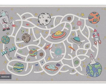 """שטיח PVC עבה במיוחד לילדים דגם- """"משחק מבוך בחלל - אפור"""""""