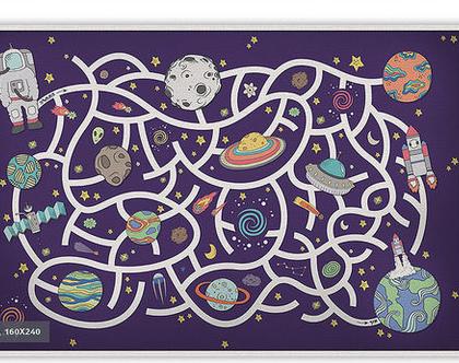 """שטיח PVC עבה במיוחד לילדים דגם- """"משחק מבוך בחלל - סגול"""""""