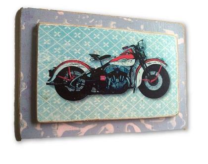 הארלי דיוידסון, הדפס אופנוע מיתולוגי על לוח עץ |מתנה|עיצוב|חדר ילדים|