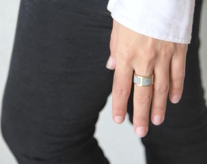 טבעת גריד עבה זהב ובטון