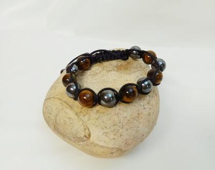 צמיד לגבר / אישה מבנים עין הנמר ואמטיסט צמיד אופנה מהמם אבנים אמיתיות