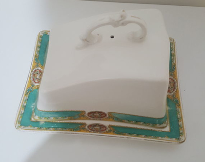 כלי לגבינה או חמאה וינטג פורצלן אנגלי חתום