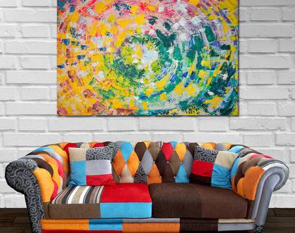 ציור גדול לסלון | ציור מנדלה | ציור אבסטרקטי | ציורים למכירה | ציורים לסלון | ציורים צבעוניים | ציורים מקוריים | ציורים יפים לסלון