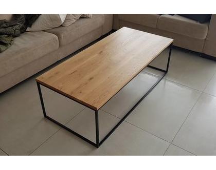 שולחן סלון | שולחן סלון ברזל ועץ | שולחן סלון אלון |