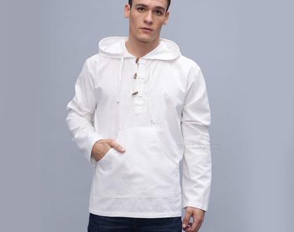 חולצת קפוצ'ון לגברים - שאנטי - לבן