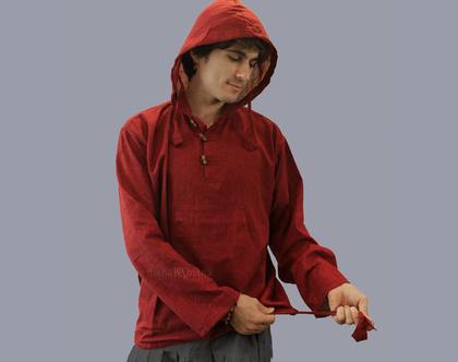 חולצת קפוצ'ון שנטי לגברים - בורדו