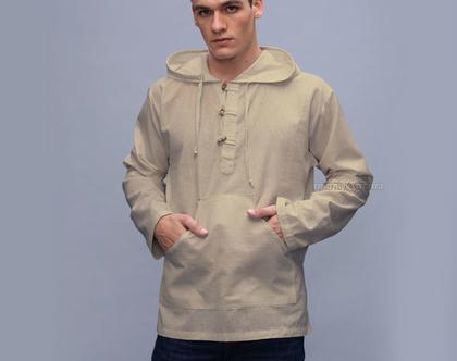 חולצת קפוצ'ון אתנית - שאנטי - צבע קרם