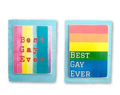 best gay ever, הומאז' לקהילה על עץ ממוחזר |מתנה|עיצוב הבית|תמונה לסלון|