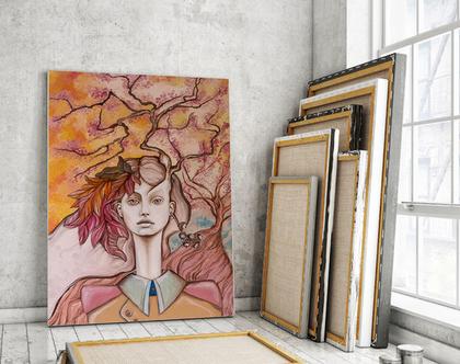 נערת הסתיו, ציור של נערה, ציור של סתיו, עץ, ציור סוריאליסטי בצסעי פסטל, ארט נובו, ציורים ייחודיים לסלון