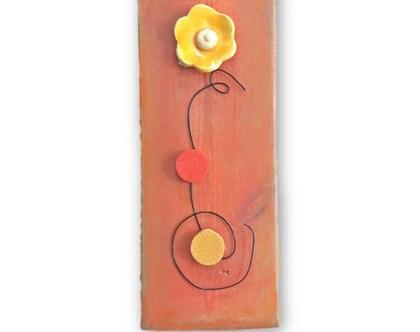 תמונה צבעונית | תמונה לבית | פרחים על עץ ממוחזר |