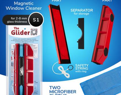 גלידר D-1 מנקה חלונות מגנטי דו צדדי - משלוח חינם עד בית הלקוח