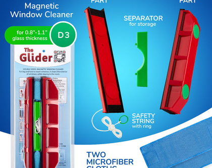 """הגלידר D-3 מנקה חלונות מגנטי דו צדדי 30 מ""""מ"""