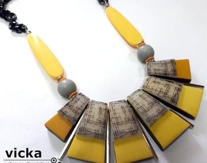 שרשרת טרפזים בגווני צהוב וחרדל
