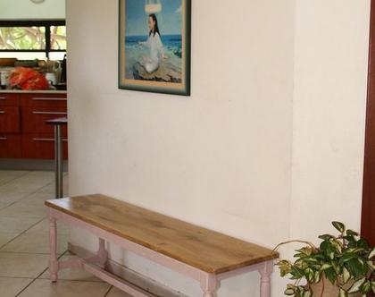 ספסל/שולחן חרוטינה מעץ אלון ובוק עם רגליים חרוטות | ספסל לפינת אוכל | ספסל לאמבטיה | ספסל לחדר שינה | ספסל פסנתר