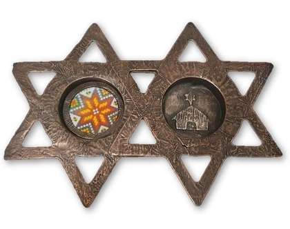 זוג פמוטים לנרות שבת, בצורת מגן דוד. פריט יודאיקה