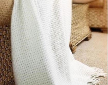 שמיכת צמר אלגנטית כיסוי מיטה זוגית שמיכת טלוויזיה שמיכת צמר איכותית שמיכה לבנה שמיכה לחורף כירבולית לבנה שמיכת צמר עיצוב סלון לבן