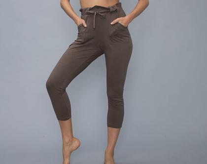 מכנס יוגה חום - כותנה אורגנית