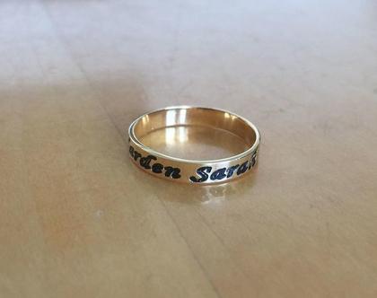 טבעת כסף חריטה שחורה - טבעות כסף שם - טבעת כסף מיוחדת - מתנה מיוחדת