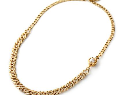 שרשרת מרילין שרשרת לכלה- גורמט זהב עם סוגר פנינה
