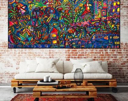 ציור של ענבר רייך, הדפס בד ממוספר ומשודרג, גלריה למכירת ציורים, אומנות ישראלית מקורית , ציורים ענקיים לבית, תכשיט לקירות
