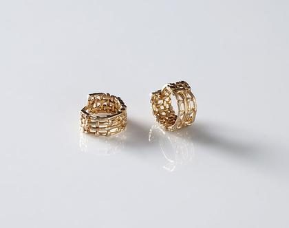 עגילי חישוק, חישוקים צמודים, עגילי זהב 18K