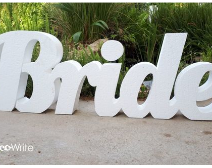 "BRIDE מילה מחוברת | אותיות קלקר גובה 50 ס""מ לעיצוב פרחים וממתקים | BRIDE"