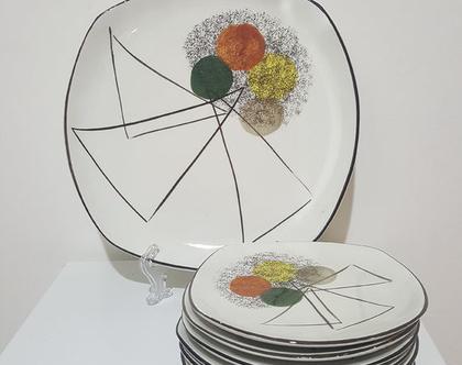 סט לעוגה מדהים ביופיו קרמיקה ישראלית שנות החמישים תוצרת קדר צלחת גדולה ושש צלחות אישיות