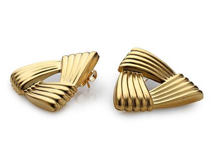 עגילי משולשים רטרו - עגילים גאומטרים - עגילים לאישה - עגילי זהב - עגילים במבצע - עגיל בציפוי זהב לאשה - מתנה לחג