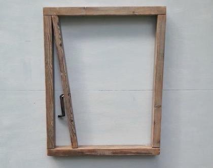 פריט אומנות מקורי | חלון ללא נוף ֻֻֻֻ| מסגרת עץ ממוחזר |