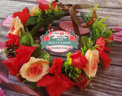 קשת פרחי משי אדומים| זר לראש| קשת פרחים | קשת פרחי משי| זר פרחים ליום הולדת| זר מלאכותי| זר לבת מצווה| קשת לשיער| זר לשבועות|