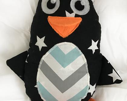 בובת בד מעוצבת | בובה בעבודת יד | בובת התפתחות לתינוק | בובת פינגווין
