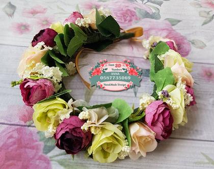 קשת פרחי משי| זר לראש| קשת פרחים | קשת פרחי משי| זר פרחים ליום הולדת| זר מלאכותי| זר לבת מצווה| קשת לשיער| זר לשבועות|