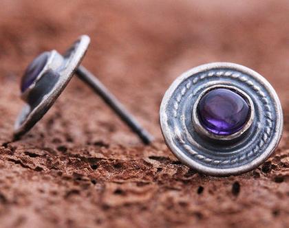 עגילי כסף צמודים, עגילי אמטיסט, עגילים עדינים, עגילי כסף מושחר, עגילי כסף וינטאג', אבן סגולה, עגילים מעוצבים, בוהו סטייל, אבן חודש פברואר