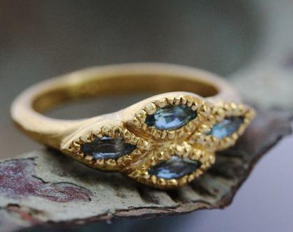 טבעת זהב ואקוהמרין, טבעת אירוסין מיוחדת, אבן תכלת, טבעת זהב 22K, טבעת גולמית, טבעת זהב מעוצבת, טבעת זהב אמיתי, אבן חודש מרץ