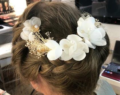 פרחים לשיער תכשיטי שיער לכלות בעבודת יד