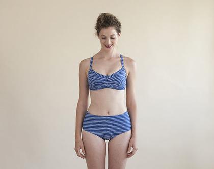 חזיה ברוח שנות ה-50' כחול-לבן