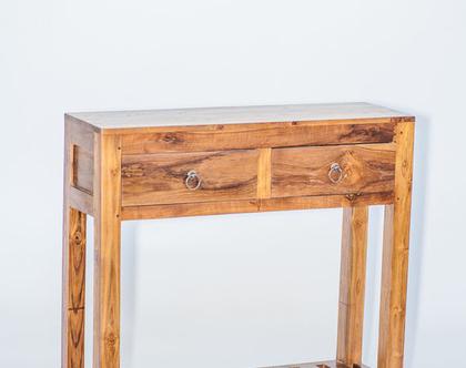 קונסולה שימושית ומעוצבת,עץ מלא, עם 2 מגירות ומדף ***משלוח חינם***