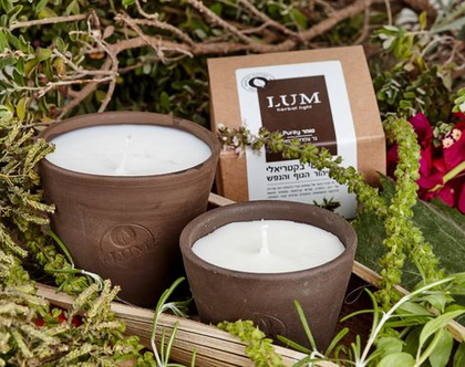 "LUM Purity - נרות טבעיים עם מיצוי צמחי מרפא לטיהור הגוף והנפש 150 מ""ל"