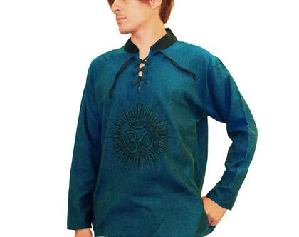 """חולצת גברים עם הדפס """"oum"""" כחול"""