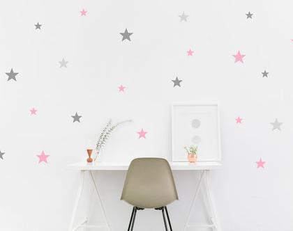 153 מדבקות כוכבים בשלושה צבעים | מדבקות לחדר תינוקות | מדבקות לחדר ילדים | מדבקות לחדרי ילדים | מדבקות קיר | מדבקות לעיצוב הבית | עיצוב הבית